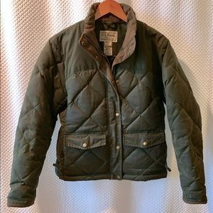 LL Bean Quilted Down Waxed Cotton Jacket